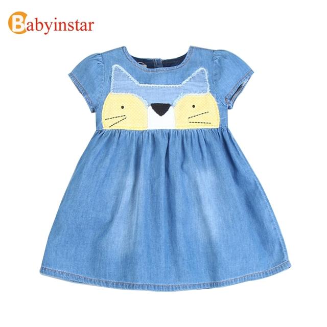 Babyinstar Gato Dos Desenhos Animados das Crianças Traje Do Bebê Vestido para a Menina de Verão Denim Vestido de Boa Qualidade Crianças Casual Vestidos 2017 Nova
