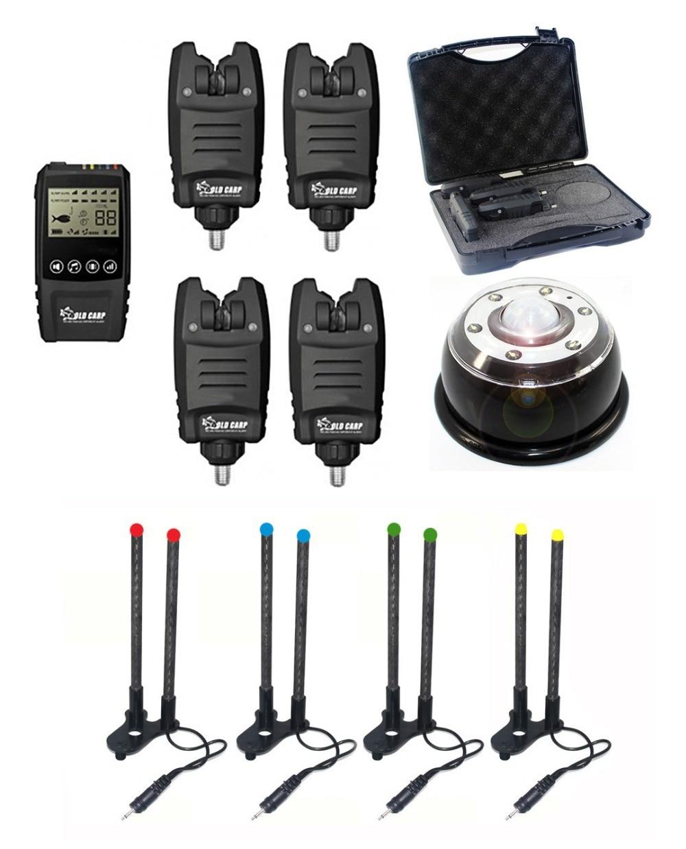 OLD CARP 1+4 Galaxy BL Multi-LED Wireless Fishing Rod Bite Alarm with Snag ears and Tent Light for carp fishing заклепочник усиленный gross 40409