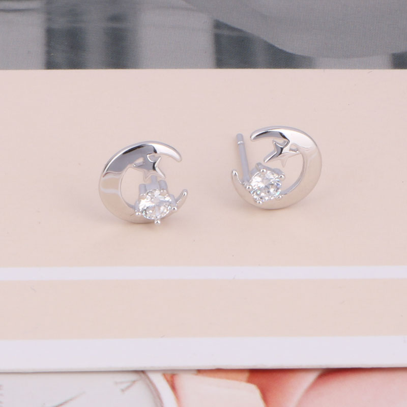 Real Sterling Silver 925 Earrings Christmas Moon And Star Stud Earrings Moon Star Earing Pendientes Plata De Ley 925 Mujer (8)