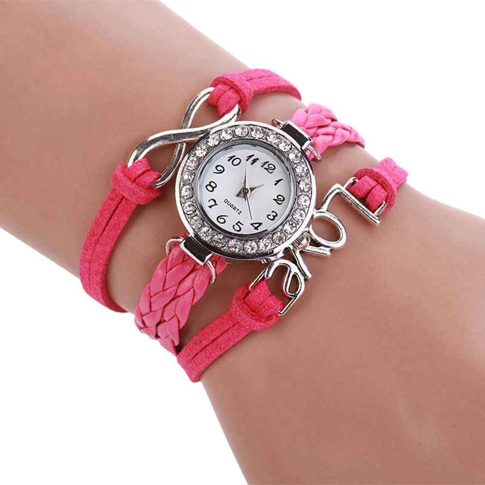 Smart Women Infinity Love Hand-knitted Leather Chain Quartz Wristwatch Watch Reloj Hombre Analog Bracelet Diamond Digital Dial Hourb40 To Make One Feel At Ease And Energetic Watches