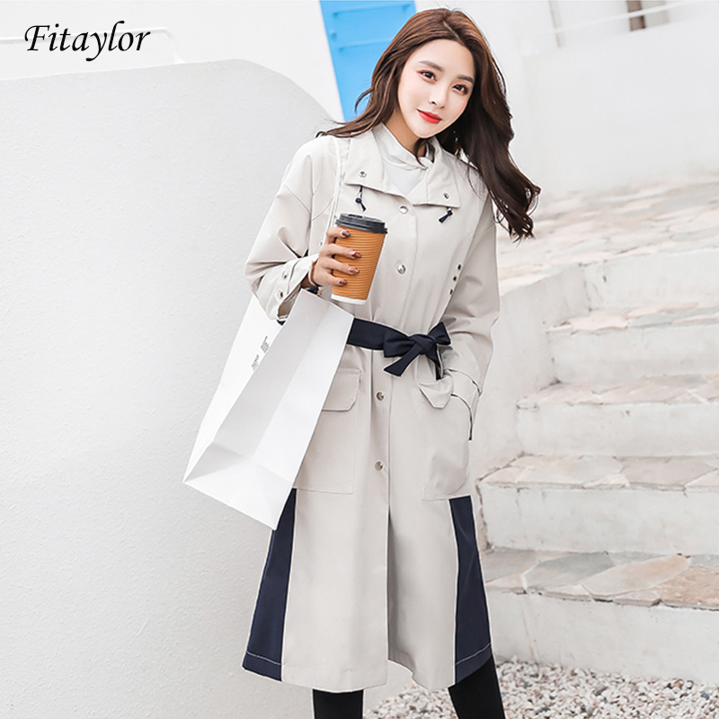Fitaylor Autumn Brand Women   Trench   Coat Long Windbreaker Europe America Fashion Trend Double-Breasted Long   Trench   Plus Size XL