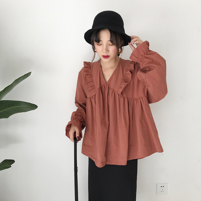 Ruffles V Neck Loose Baby Doll Style Blouse Puff Sleeve Shirt Women Top Spring Summer Chemise Femme Chemisier Blusa Mujer by Garate Ama Duan