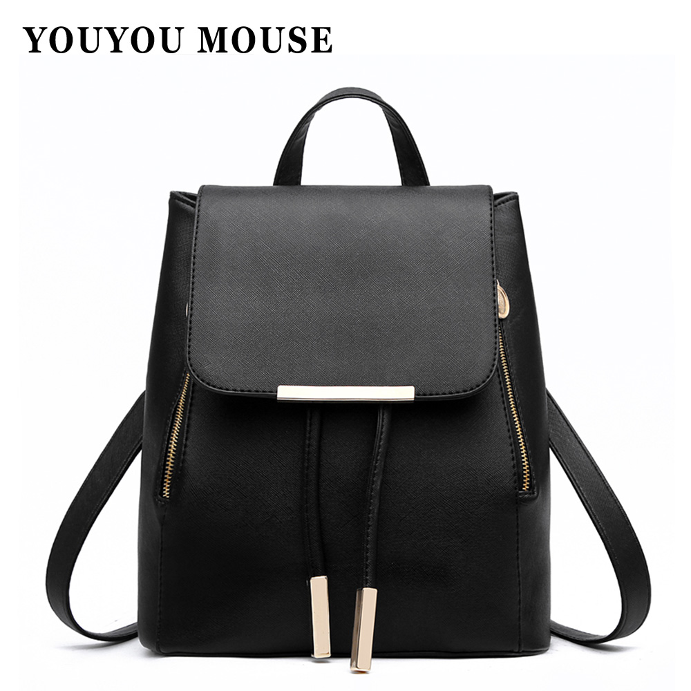 New High Quality Woman Backpack School Bag For Teenagers Travel Backpacks Women PU Leather Gift Backpack