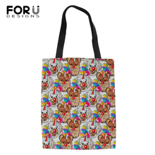 FORUDESIGNS Cartoon Animal Painting Fshion Shopping Bags Dogs Print Girls Handbags Cotton Linen Women Ladys Cool Canvas Bag