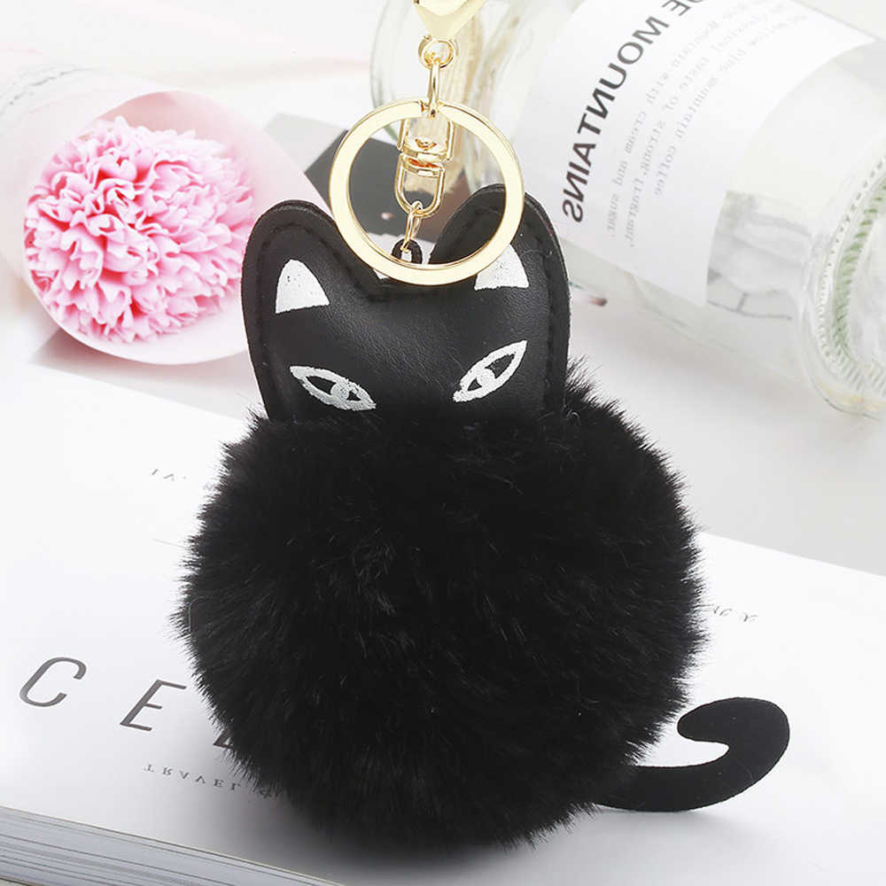 d0034e0a9cc4 Fashion Jewelry Women Cat Keychains Pompom Soft Fur Ball Furry Key Ring Car Purse  Pom Pom