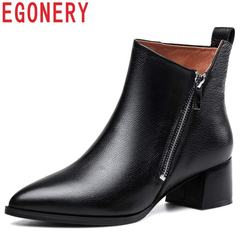 все цены на EGONERY high quality new genuine leather pointed toe shoes women zipper med square heel black and beige winter warm ankle boots