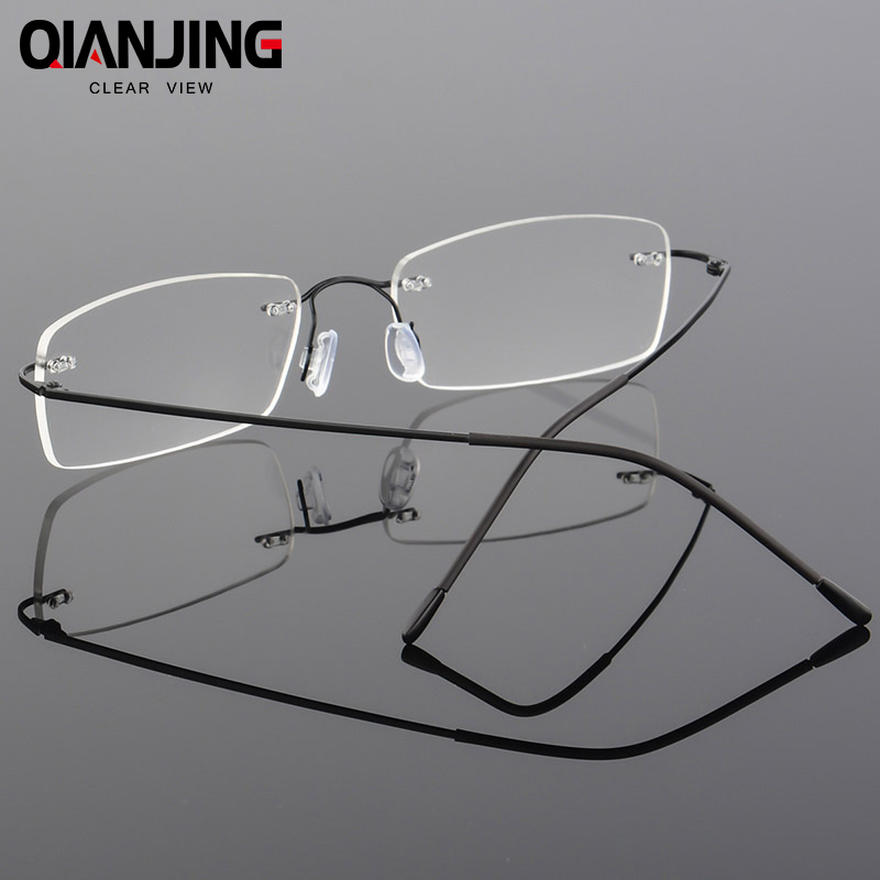cda7116deb QJ Titanium Eyeglasses Rimless Women Luxury Diamonds Design High Clear  Lenses Myopia Glasses Computer Ladies Reading Glasses