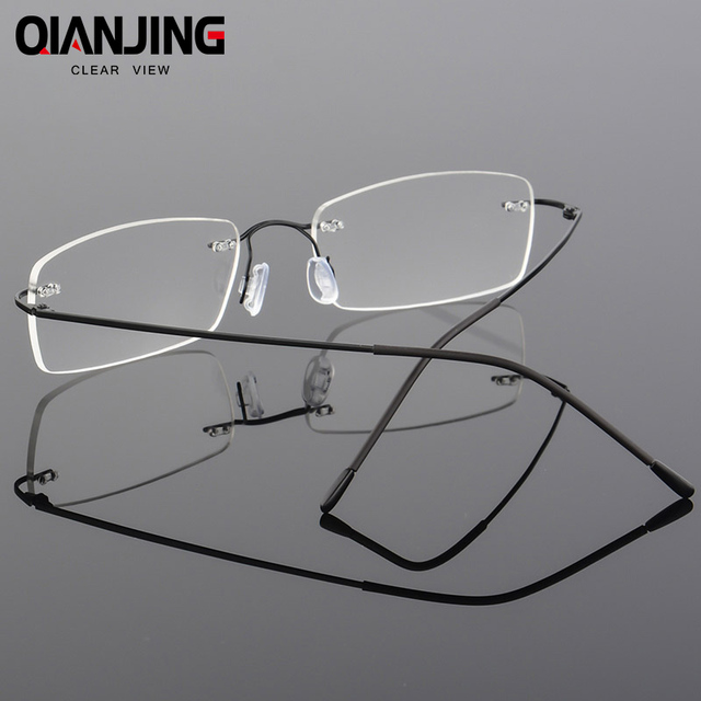 30d51ae4ab QIANJING 2018 Titanium Myopia Rimless Glasses Memory Square Eyeglasses  Optical Spectacle Frame Eyewear Men Women Brand