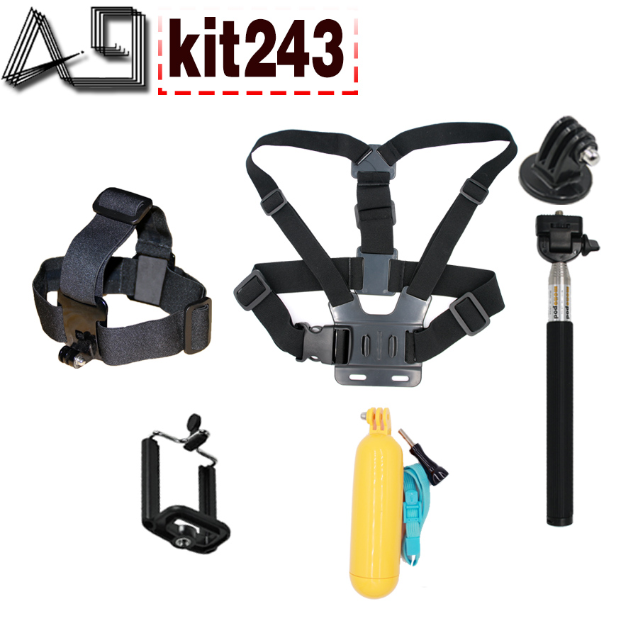 A9 For Accessories Set For Floaty Bobber Chest Belt Head Mount Strap Monopod For Go pro Hero 4 3+2 xiaomi yi action camera