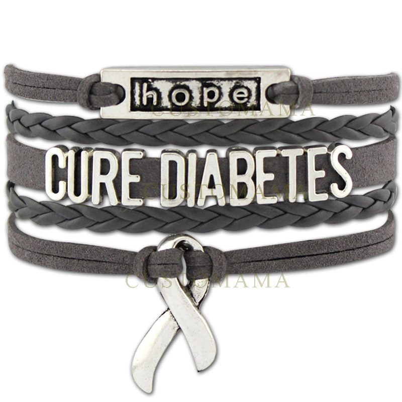 (10 PCS/Lot) Infinity Love Cure Diabetes Awareness Diabetic Ribbon Bracelet Gift for Fighters Grey Suede Leather Custom