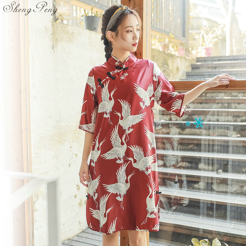 2019 New Literary Retro New Loose Improved Cheongsam Plate Buttons Chinese-style Half Sleeve Red Chinese Dress Female  V1501
