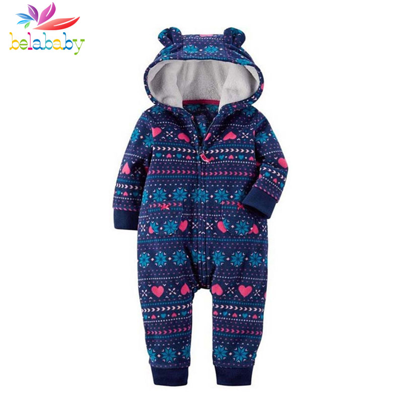 Belababy 2017 NEW Baby Rompers Winter Thick Warm Baby boy Clothing Long Sleeve Hooded Jumpsuit Kids Newborn Outwear for 6-24M 2017 new baby rompers winter thick warm baby girl boy clothing long sleeve hooded jumpsuit kids newborn outwear for 1 3t