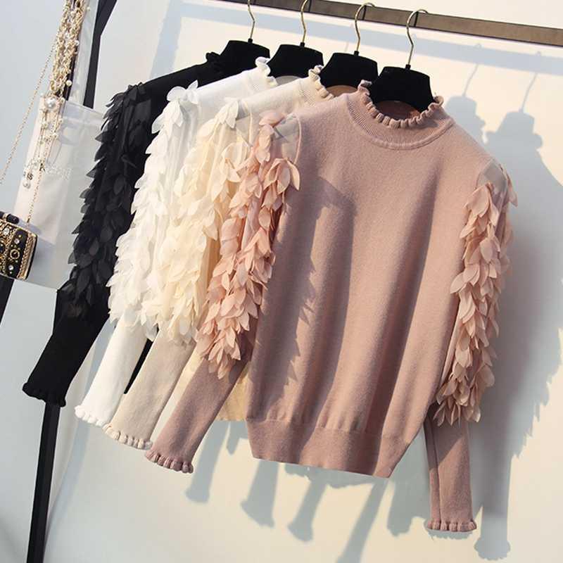 Женский свитер с присборенным воротником GIGOGOU, розовый свободный пуловер с рукавами и цветочной отделкой, вязаный джемпер. трикотажный свитер для зимы и осени, 2019