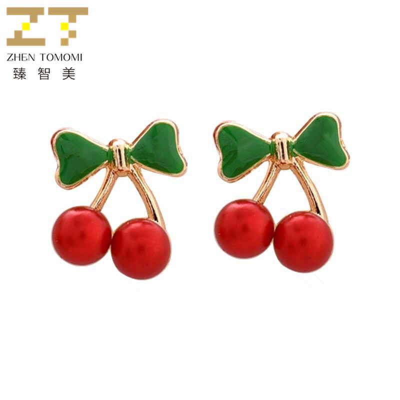2018 New Arrivals Hot Women's Fashion Simple Bowknot Earrings Bijoux Red Cherry Simulated-pearl Stud Earrings For Women Jewelry