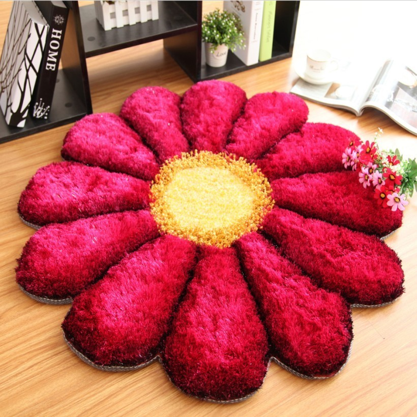LIU Wedding 3D Rose Round Acrylic Thick Sunflower Carpet 90cm Cloakroom  Bedroom Rug Livingroom Pad Computer