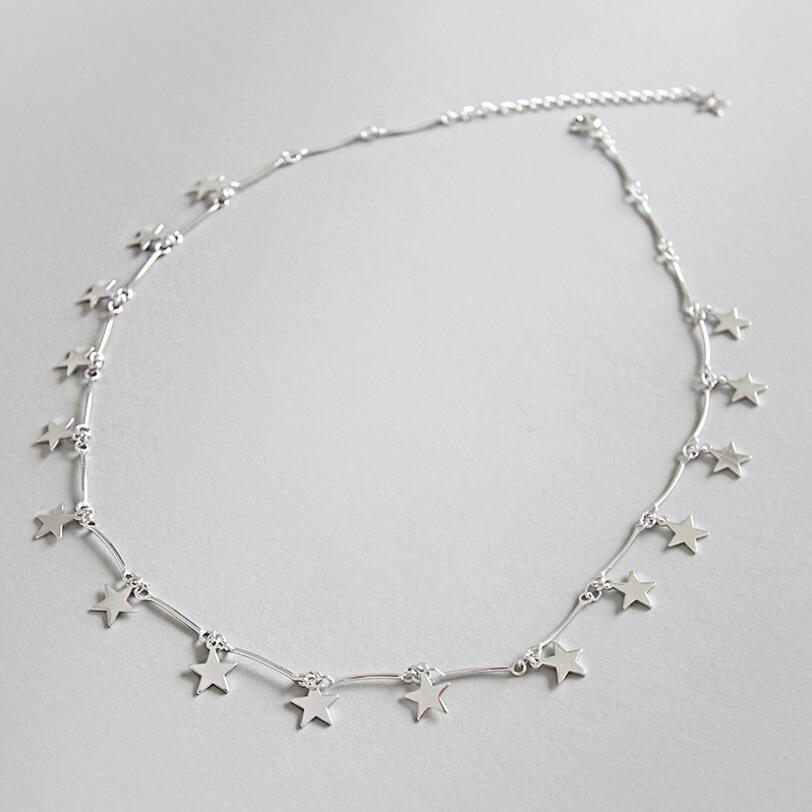 925 Sterling Silver Cute Danity Star Charm Pendant Necklace Christmas Gift Delicate Chain Star Tassel Necklace Women Jewelry