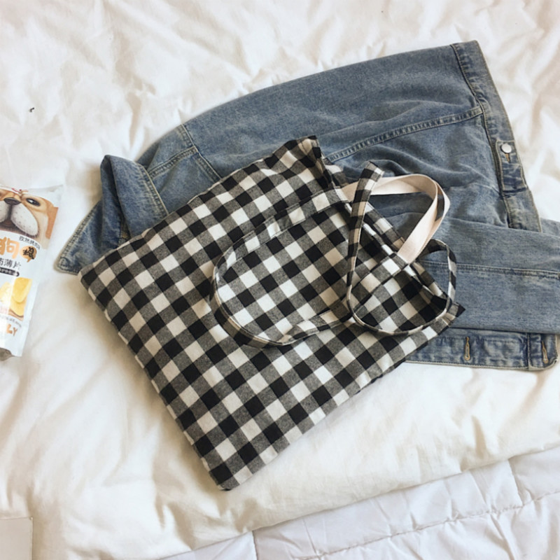Canvas Shoulder Bag Plaid Hand Bags Daily Use Foldable Large Capacity Travel Shopper Bag Totes