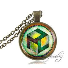 Sacred Geometry Antahkarana Symbol Necklace Pendant Antique Bronze Chain Necklace For Wome Men Chakra Pendant Meditation Jewelry