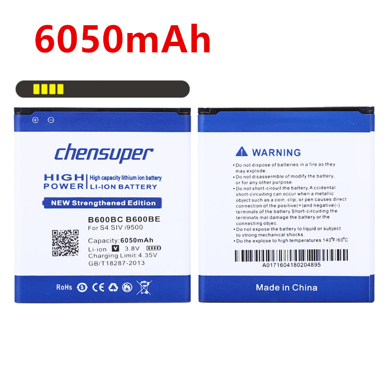 chensuper new 6050mAh B600BC for Samsung Galaxy S4 battery i9500 S4 Active I9295 i9505 i9502 i9508 i959 R970 g7106 i9158 i9506