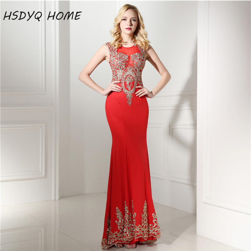 HSDYQ HOME Red Mermaid Prom   evening     dresses   Sleeveless Appliques Party gown