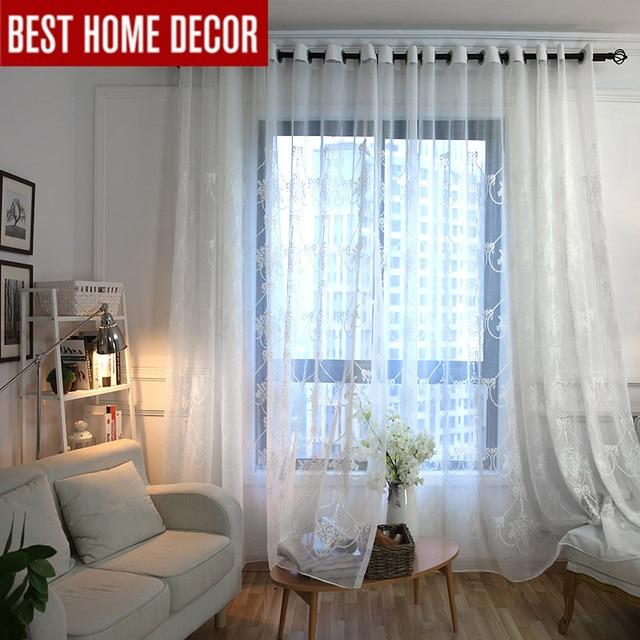 Elka blanc lin brodé sheer tulle rideau pour salon chambre blanc ...