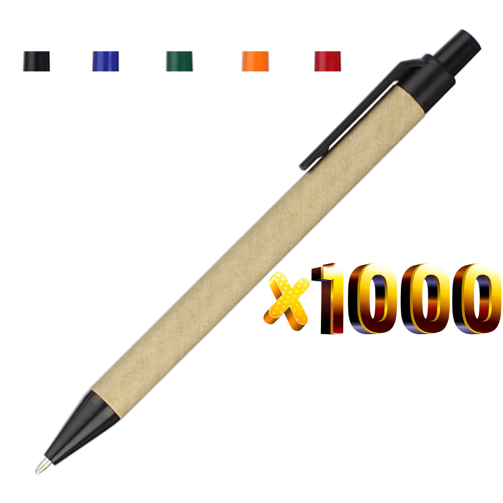 Lot 1000pcs Eco Paper Ball Pen Plastic Clip Black Ink Ballpoint Green Concept Environmental Friendly Customized