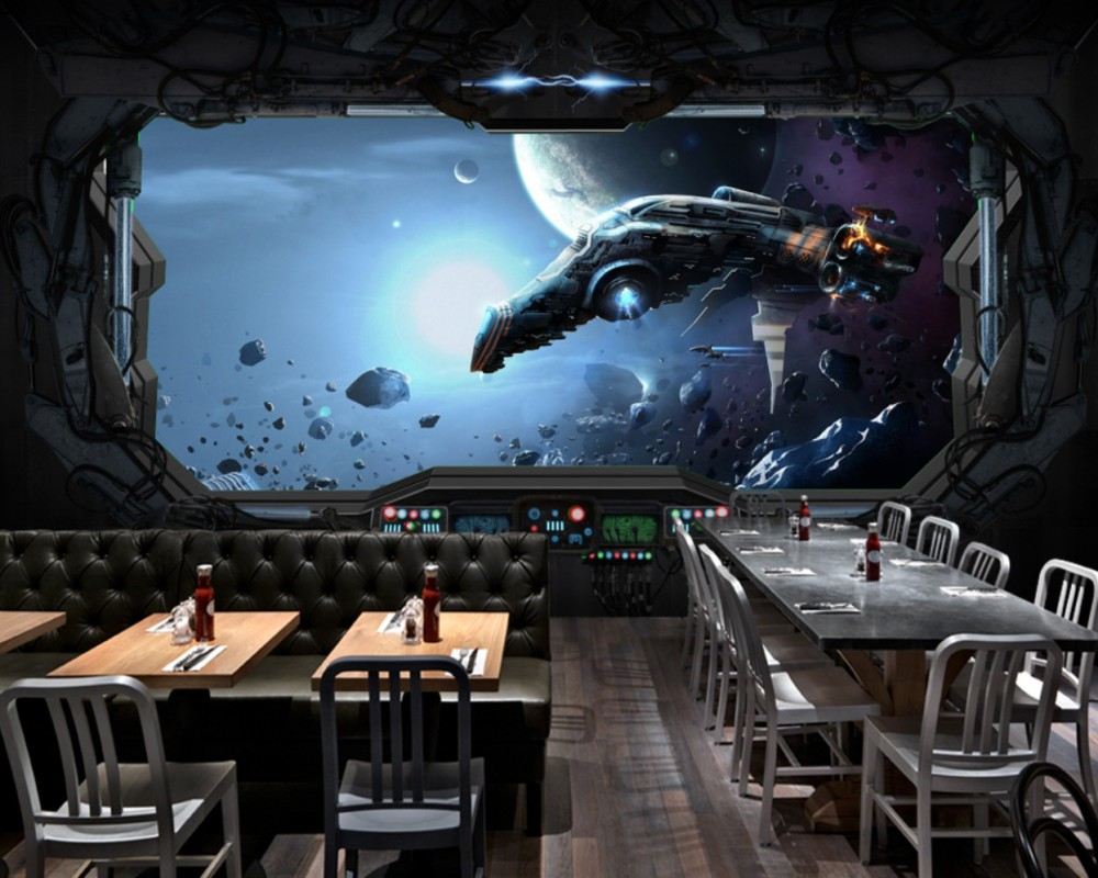 Free Shipping Custom 3D Space capsule Spacecraft Restaurant Mural Hotel Decorative Mural Science Fiction Background Wallpaper free shipping european style elegant 3d stereo custom fashion tv backdrop hotel wallpaper restaurant lobby living room mural