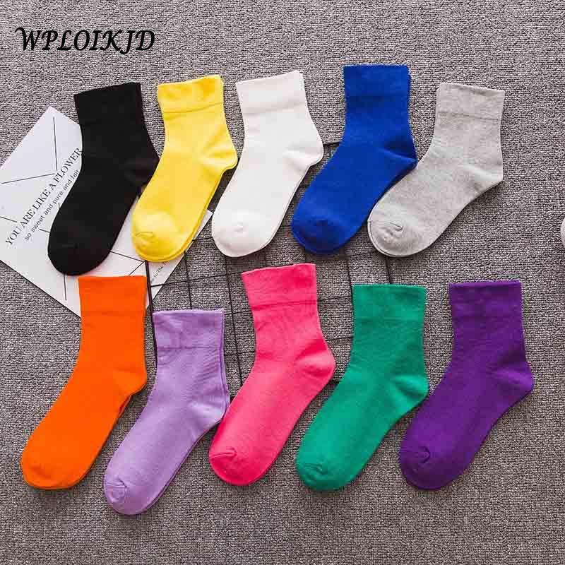 [WPLOIKJD]Harajuku Cute Korean Candy Color Socks Women Yellow Gray White Socks Women Cotton College Style Calcetines Mujer Meias