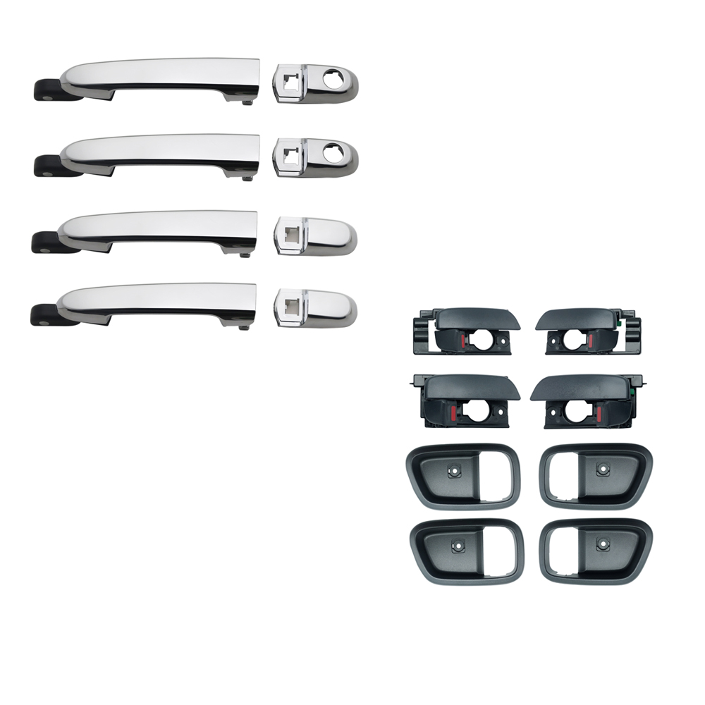 8PCS CHROME EXTERIOR BLACK INTERIOR DOOR HANDLE FOR HYUNDAI ACCENT 2007 2011 2007 2008 2009 2010