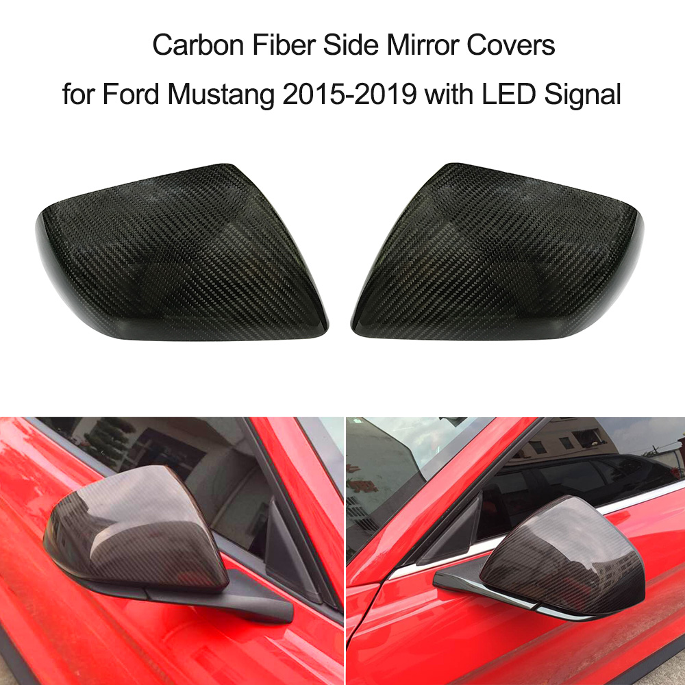 Carbon Fiber Side Mirror Covers For Ford Mustang 2015 2019 With Led 2014 Fuse Box Cover Signal 1 Pair Replacement Caps Shell Car Styling In From Automobiles