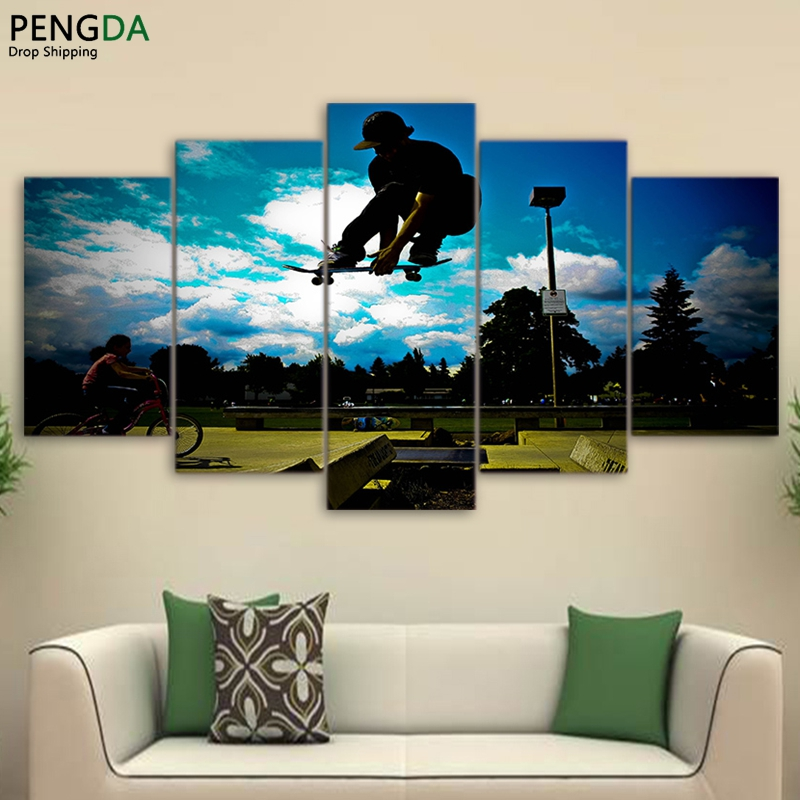 Canvas Painting Wall Art Frame Modern Pictures Living Room Decor 5 Pieces Cool Skateboard Green Land