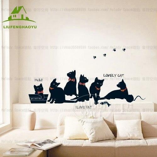 familia de pared de vinilo pegatinas wallpaper historieta animal gato negro sof de la sala tatuajes