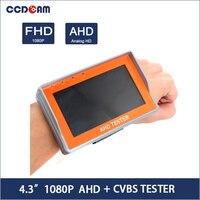 CCDCAM 1080P AHD+CVBS Analogy Free Shipping Portable Wrist 4.3 LCD CCTV Camera Test Monitor Tester