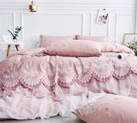 Розовый роскошный вышивка 80 s Египетский хлопок принцесса набор постельных принадлежностей для девочек кружево край инкрустированные буси