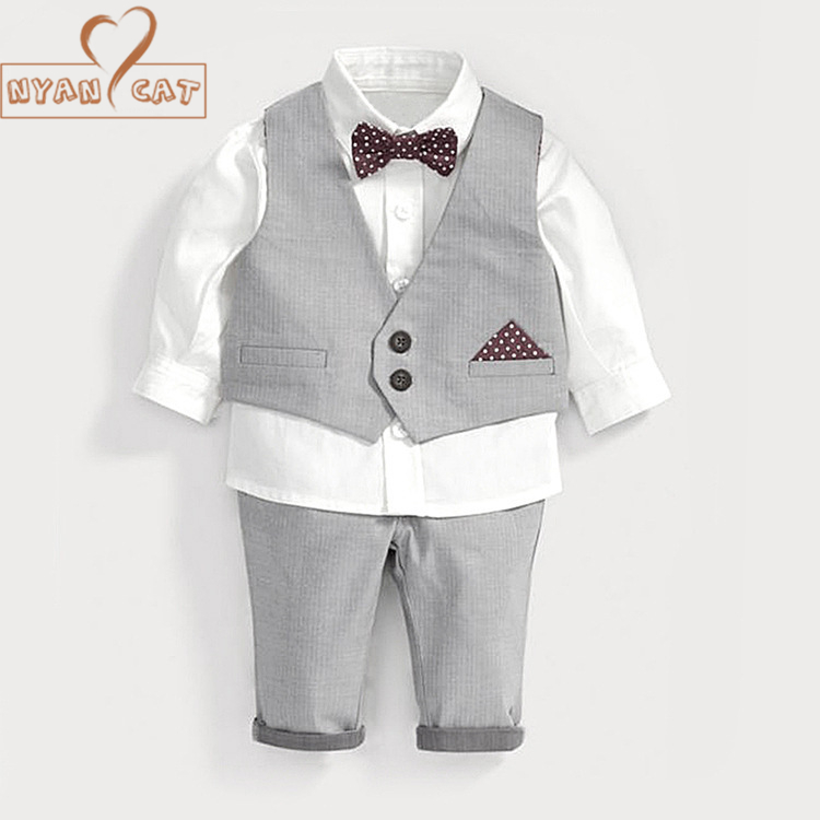 NYAN CAT Infant Baby Boy Formal Wear Shirt+Vest+pants 3pcs gentlemen bow tie clothes Kid toddler wedding party birthday outfits цены онлайн