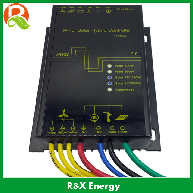 600w Wind Solar Hybrid Battery Charge Controller With Led