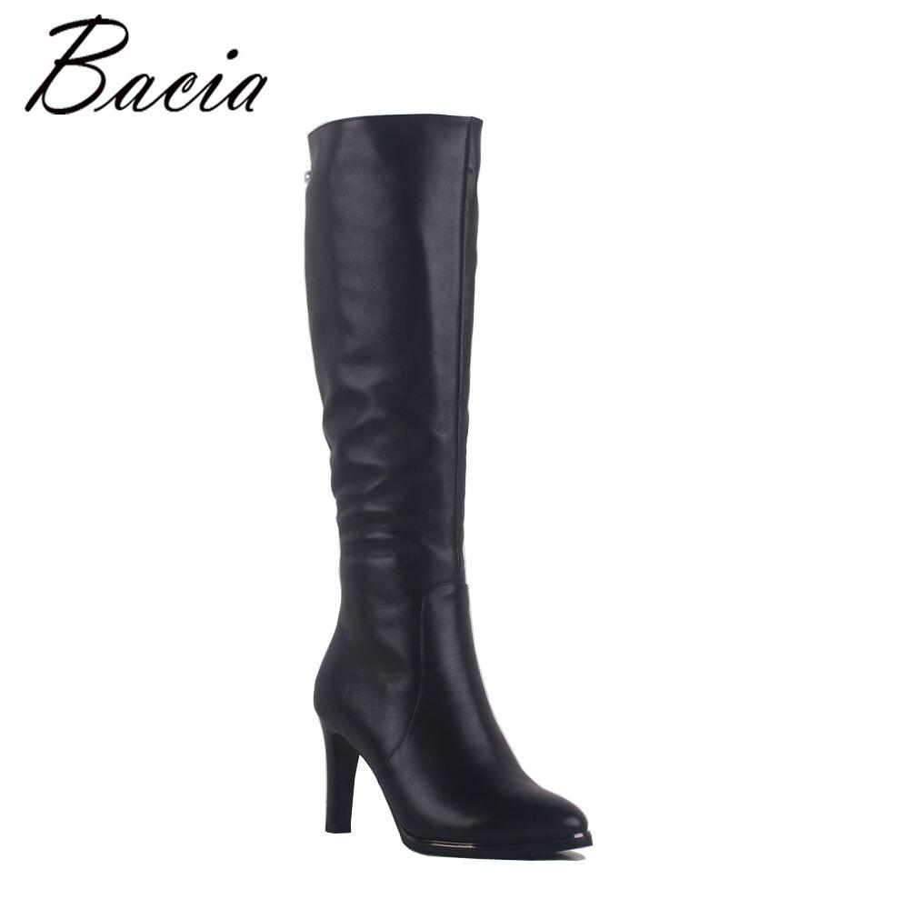 Bacia Dame Sexy Mince Talons Bottes Noir 100% Naturel Vache En Cuir Bottes Top Perles Chaussures À La Main Rétro Dame D'hiver Chaussures SA014