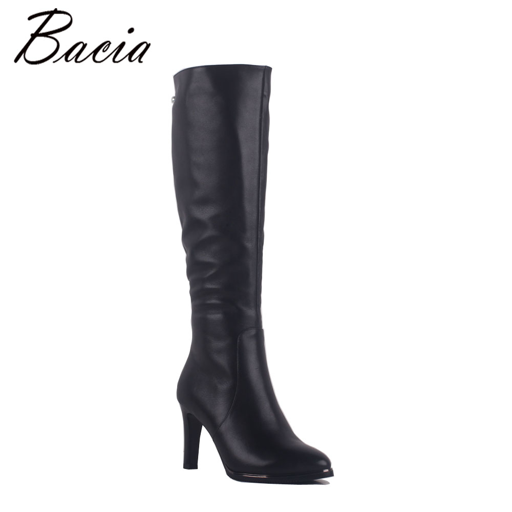Bacia Lady Sexy Thin Heels Boots Black 100% Natural Cow Leather Boots Top Beading Shoes Handmade Retro Lady Winter Shoes SA014
