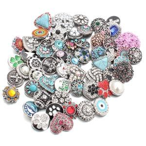 Image 5 - 50 pz/lotto Stile Misto 18mm Bottoni a pressione In Metallo Jewelry 50 Disegni Zenzero Scatto di Cristallo Fit 18mm Snap Bracelet braccialetti Collana