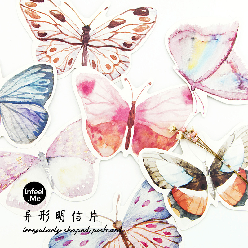 3 set/1 lot Retro Butterfly  Greeting Card Postcards Birthday Bussiness Gift Card Set Message Card