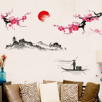 Pegatinas de pared artística de estilo chino con paisaje de ciruela y amanecer para sala de estar, dormitorio, Fondo para decoración del hogar, Mural, calcomanías, papel tapiz