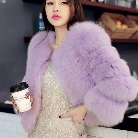 Femmes Mori Wr749 pourpre noir Manteau 2019 Sexy Moelleux Renard bleu rouge Hiver Épaissir Courte lavande Veste Argent Automne Vison De Dames Faux Fourrure blanc Manteaux qpx8xagAwT
