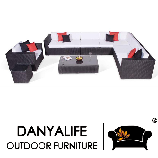 Elegant DYSF D8701 Danyalife Outdoor Living Collection Poly Rattan Sectional Sofas
