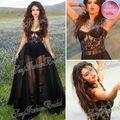 Selena Gomez Dress Sexy Sweetheart opacidad una línea de longitud del piso negro gasa cuadro verdadero de noche de la celebridad vestidos