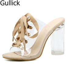 Women Summer PVC Lace-up Sandals For Women Peep Toe Transparent Crystal Heel Mules Sexy Chunky High-heeled Mules Summer Shoes simple women s pumps with lace up and chunky heeled design