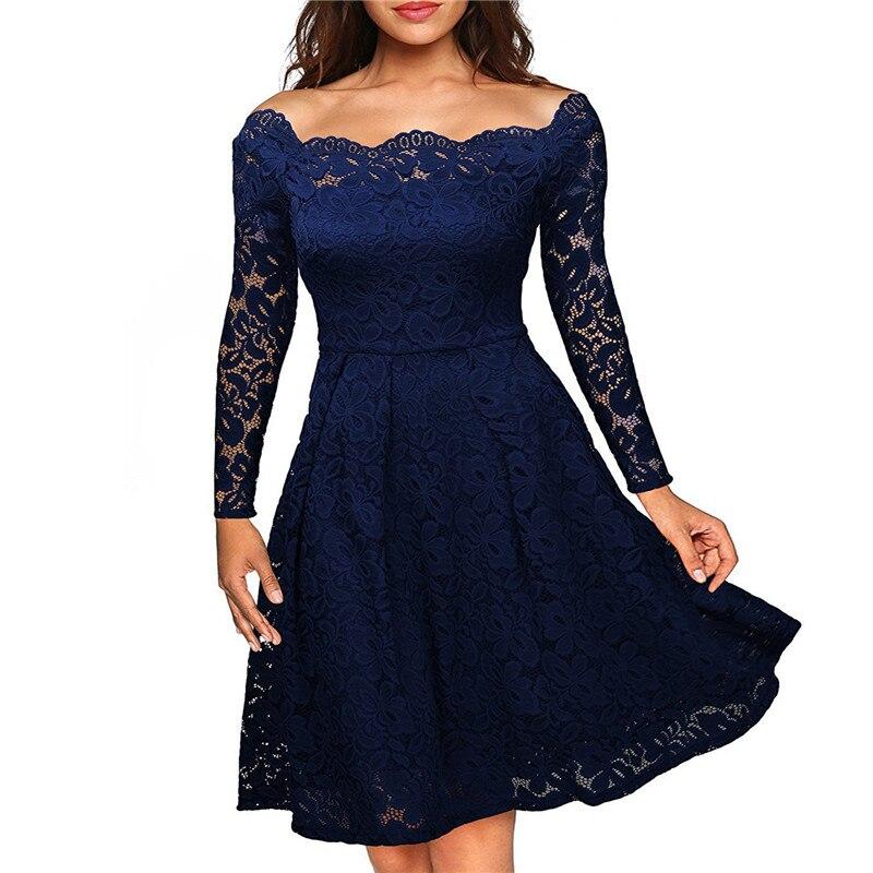 Весна Осень черное платье плюс размер женское 2019 халат сексуальное кружевное вечернее платье тонкий с открытыми плечами ТРАПЕЦИЕВИДНОЕ ПЛ...