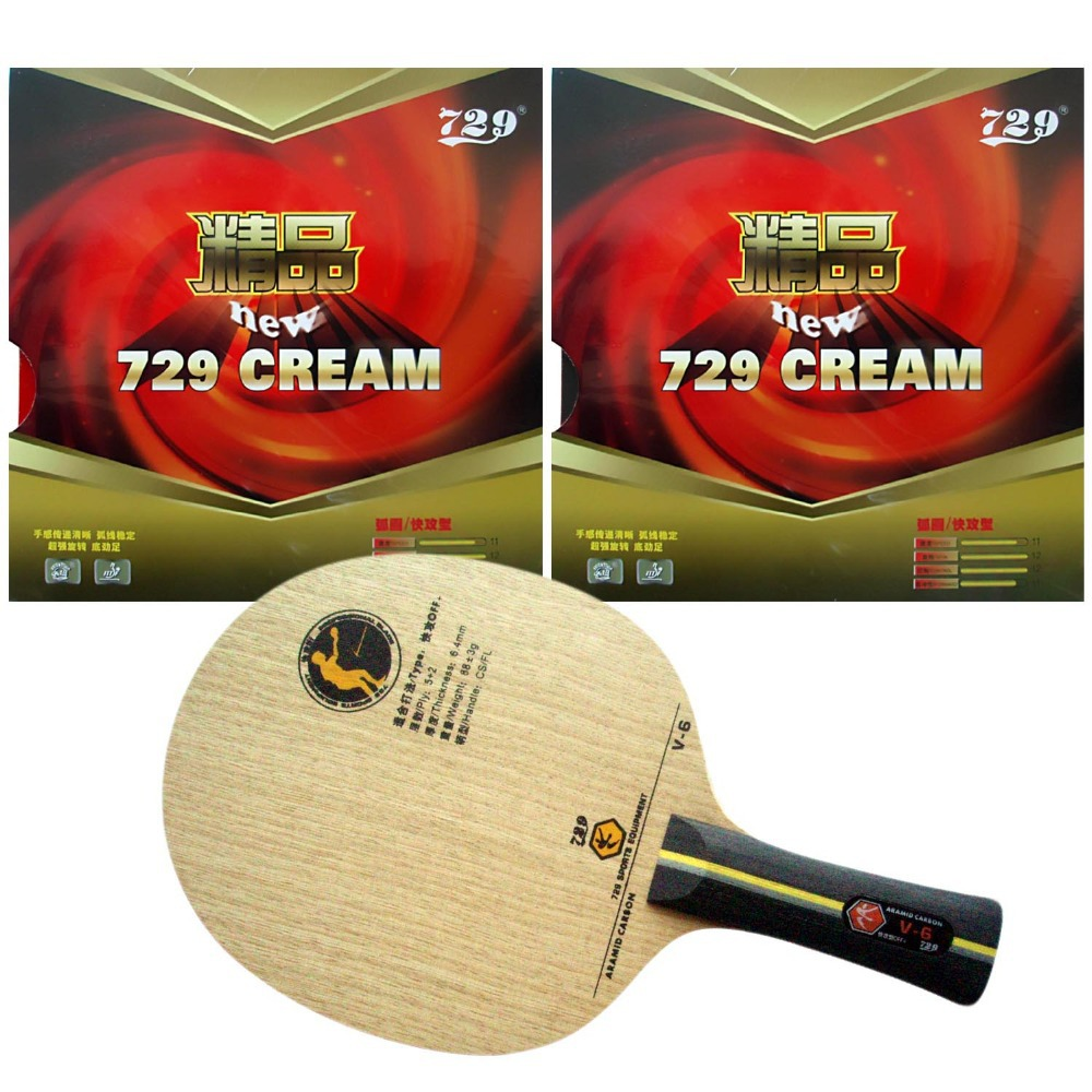 Pro Table Tennis (PingPong) Combo Racket: RITC 729 V-6 with 2x RITC 729 New CREAM Rubbers Long Shakehand FL pro table tennis pingpong combo racket ritc729 v 6 blade with 2x transcend cream rubbers shakehand long handle fl