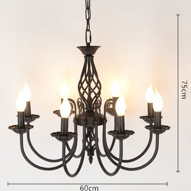 Us 50 0 Vintage Wrought Iron Chandelier E14 Candle Light Lamp Black Metal Lighting Fixture In Chandeliers From Lights On Aliexpress