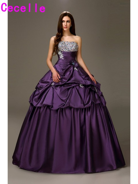 2017 Classic Long Purple Princess Quinceanera Dresses Sweetheart ...