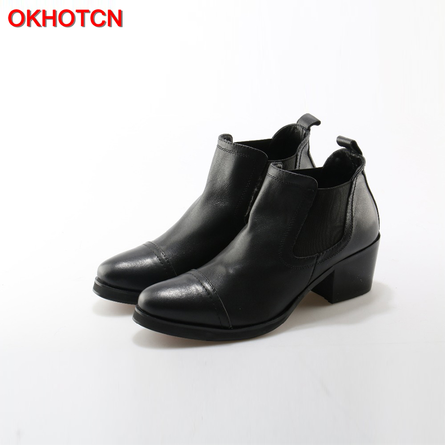 OKHOTCN Men's Spring Winter Chelsea Boots British Style Fashion Ankle Boots Black Sewing Genuine Leather Elastic Casual Shoes elastic band women genuine leather ankle boots chelsea hand made shoes motorcycle coincise fashion black matte women s boots